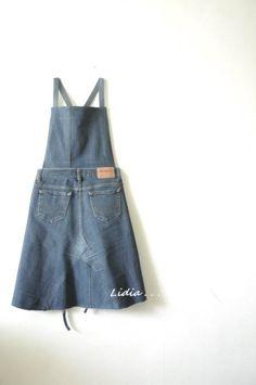 청바지로 앞치마를 만들었어요. 뒷모습 같지만, 앞입니다.ㅎㅎ 언젠가부터 꼭 만들어 보고 싶었던 앞치마입... Diy Clothing, Sewing Clothes, Demin Skirt, Techniques Couture, Old Jeans, Recycled Denim, Handmade Clothes, Refashion, Jeans Style