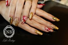 gold and red nails. super models