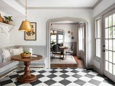 Checkered floors in a vintage style kitchen! This tranquil Tudor cottage was renovated on HGTV's Fixer Upper by Chip and Joanna and is known as the Scrivano House. Fixer Upper House, Fixer Upper Kitchen, Fixer Upper Hgtv, Magnolia Fixer Upper, Black And White Tiles, White Walls, Black White, Black And White Flooring, White Wood