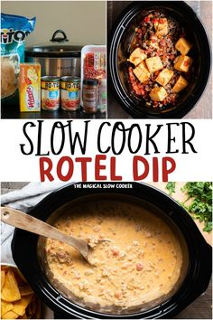 Make Rotel Dip in your slow cooker with Velveeta, ground beef and 2 cans of Rotel Tomatoes. Perfect dip for parties and gameday. - The Magical Slow Cooker Slow Cooker Recipes, Crockpot Recipes, Cooking Recipes, Slow Cooker Dips, Slow Cooker Appetizers, Appetizer Dips, Appetizer Recipes, Dip Recipes, Eating Clean
