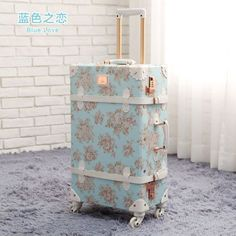 20/22/24/26inch Handmade Spinner vintage rolling luggage floral travel suitcase,board chassis trolley luggage sets leather bags