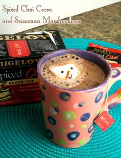 How to Brew the Perfect Cup of Tea AND Getting Creative While Its Steeping! Spiced Chia Cocoa and Snowman Marshmellow via @busyathome. #BigelowBaking #ad