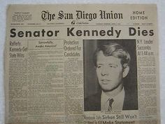 Image result for 1968 – Assassination of Robert F. Kennedy, Democratic Party senator from New York, brother of 35th President John F. Kennedy, dies from gunshot wounds inflicted on June 5