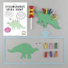 Stegosaurus Spike Hunt Kit.Perfect for three to eight year olds, help the stegosaurus find his spikes in this treasure hunt. Once you have found the pegs and popped them on his back, the Stegosaurus will reward you with a sweet treat. Not for the faint hearted...roooaaaarrrr. In a bid to banish plastic tat from our homes, all CottonTwist products are lovingly made by hand and all components are as good as we can possibly make them.Cardboard dinsoaur cut out, mini wooden pegs, self adhesive g... Girl Dinosaur Birthday, Boy Birthday, Birthday Ideas, Birthday Stuff, Diy Arduino, 4th Birthday Parties, Childrens Party, Party Bags, Party Time