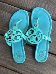 8c7f2ba68a7d5 Tory Burch Miller Sandal Size 6 Teal  fashion  clothing  shoes  accessories