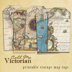 Six beautiful free printable vintage map digital collage sheet tag images. These vintage map tags are made from real historic antique images of centuries old French, English, and Latin maps.