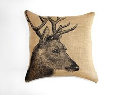 Deer Pillow Cover, Burlap Pillow, Cushion, Rustic, Decorative Throw Pillow, Log Cabin, Woodlands, Accent Pillow, Black and Beige, 16x16. $46.00, via Etsy.