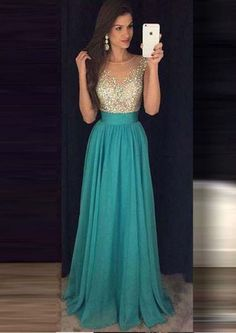 A-line Crystals Blue Bateau Sleeveless Floor Length Chiffon Ruched Homecoming / Prom Dresses