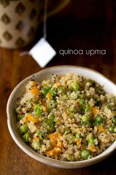 quinoa upma recipe with step by step photos - quick and easy breakfast recipe of mix vegetable quinoa upma. i had got some requests to share quinoa recipes. hence this recipe. i will also add Quinoa Indian Recipes, Millet Recipes, Vegetarian Recipes, Cooking Recipes, Healthy Recipes, Oats Recipes, Recipies, Millet Recipe Indian, Healthy Foods