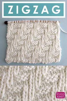 Diagonal Chevron Zigzag Knit Stitch Pattern | Studio Knit