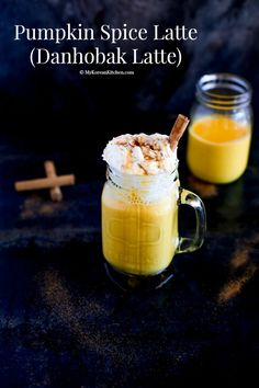 Pumpkin Spice Latte (Danhobak Latte/단호박 라떼) - from MyKoreanKitchen.com - with real pumpkin
