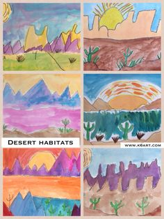 Each year our third graders study habitats (also known as biomes) in the science lab, in the General Ed classroom, and in the art room. These colorful watercolor paintings are our contribution to the habitat unit. We began by looking at All about Deserts (Question & Answer Books)by John Sanders and Patti Boyd. The book was full of fun facts and charming illustrations. We looked carefully at the desert landscape illustrations and identified foreground, middle ground and background. I ...