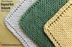 2 Ways To Knit Diagonal Dishcloths (Holes or No-Holes) : The Diagonal Knit Dishcloth – Free Knitting Pattern includes the classic version with holes on the edge, and an update No Holes version too! Knitted Dishcloth Patterns Free, Knitted Washcloths, Crochet Dishcloths, Easy Knitting Patterns, Free Knitting, Knitting Projects, Crochet Patterns, Sock Knitting, Knitting Tutorials
