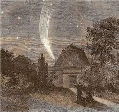 Comets Donati's comet, Illustrated London News, 1858 - from the london illustrated news 1858 Refracting Telescope, Black And White Landscape, Hubble Space Telescope, Our Solar System, Children's Book Illustration, Cosmos, Woodland, Celestial, Dibujo