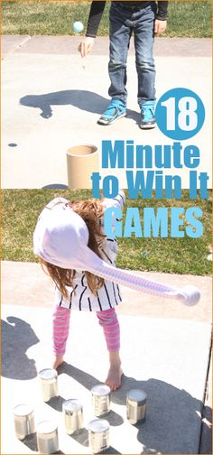 18 Minute to Win It Games. Fun games for kids and adults of all ages. Inexpensive party games. Family game night, birthday party games and school class games for boys and girls. Fun games and activities for teens.