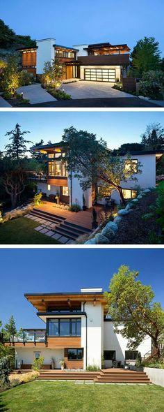 Grande casa moderna - Architecture with Nature - Fachadas Residential Architecture, Contemporary Architecture, Architecture Design, Contemporary Homes, Contemporary Stairs, Contemporary Building, Garden Architecture, Modern Homes, Modern Contemporary House