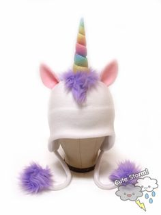 Magic Rainbow Unicorn Horned Fleece Earflap Hat. I'm buying one and adding FBL lights to it! :D