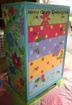 Painted dresser #painted #furniture, too cute for a little girls room!! or big girl...lol