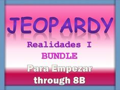 Here I have bundled the Jeopardy Powerpoints for Realidades I.  There are 17 Powerpoint Reviews:  Para Empezar, 1A, 1B, 2A, 2B, 3A,3B, 4A, 4B, 5A, 5B, 6A, 6B, 7A, 7B, 8A, 8B.  Sold separately, this is a value of $51.00. Each powerpoint reviews the chapter vocabulary and grammar, and has either questions or translations as a category.