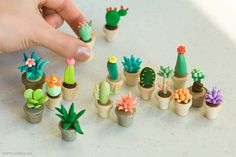 Polymer clay made into cacti in pots