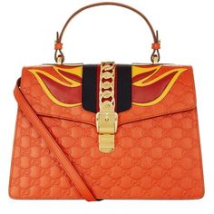 Gucci Sylvie Flame Shoulder Bag (17.450 DKK) ❤ liked on Polyvore featuring bags, handbags, shoulder bags, leather shoulder handbags, gucci purse, red leather shoulder bag, red shoulder bag and red handbags