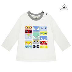 d453c1db7f2 FENDI Baby Boy Monster Eye Graphic Long Sleeve. Boys White T ShirtMonster  ...