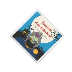 Fun cartoon full moon scary Halloween witch scene Paper Napkin - fancy gifts cool gift ideas unique special diy customize