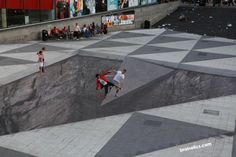 Check out this giant 104  x 59 foot optical illusion in Stockholm >> #cool #mylife #brainteaser #awesome #art