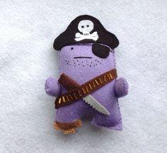 Captain James Sharkbait - Pirate King of the Salty Seas - Felt handmade original decoration / toy by MonsterDen on Etsy https://www.etsy.com/listing/189245591/captain-james-sharkbait-pirate-king-of