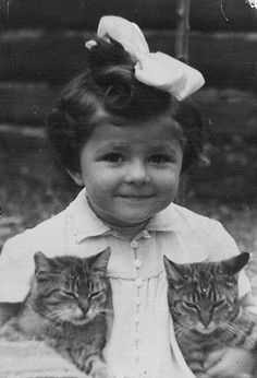 sweet girl with cats