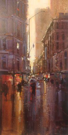 "Herman Pekel impressionist oil painting ""6pm Edward Street Brisbane"" 46x92cm. Red Hill Gallery, Brisbane. redhillgallery.com.au"