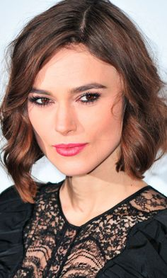 Keira Knightley curly crop looks great with her bright make-up