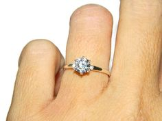 1 Carat Engagement Ring Low Profile Promise by JewelrybyDecember67
