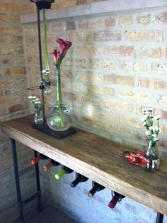 "Industrial Reclaimed Wine Bar and Rack (150 year plus ""old growth"" wood) free shipping 48"" l x 11.5"" w x 35"" tall. $495.00, via Etsy."