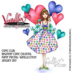 Beginner Level Copic Marker Class- Paper Piecing, Vanilla style! Stamping Bella stamp. | VanillaArts.com