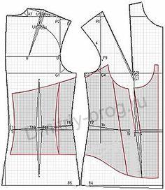 """Ejemplo de modelos de vestidos de novia y corsé desarrollados sobre la base de un programa de cálculo de """"corte"""" Corset Sewing Pattern, Pattern Drafting, Corset Tutorial, Clothing Patterns, Sewing Patterns, Diy Corset, Pattern Sketch, Sewing Blouses, Wedding Dress Patterns"""