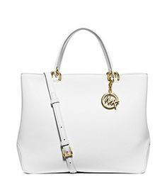 2520c64b10 Anabelle Large Leather Tote by Michael Kors White Gold