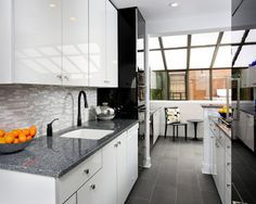 , Inspiring Ideas From Contemporary Kitchen Remodelers Also White Kitchen Cabinet And Drawers Also Grey Granite Countertop Also Light Gray Mosaic Backsplash Also White Modern Sink And Black Faucet And Mixer Tap: Finding Some Good Kitchen Remodel Before And After Example For Good Kitchen Remodeling Ideas