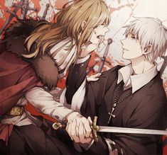 hungary and prussia -hetalia aww just look at his sympathetic eyes!! He understands her pain :,)