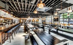 Berg'n- Crown Heights. Smorgasburgs new permanent home! Brewery Interior, Small Restaurant Design, Brewery Restaurant, Brewery Design, Communal Table, Picnic Style, Brew Pub, Tap Room, Beer Bar