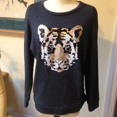 Forever 21 Bling Tiger Sweatshirt Worn once!  Excellent beautiful condition  Forever 21 Sweaters Crew & Scoop Necks