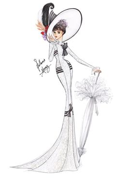 """Audrey Hepburn in My Fair Lady - Ascot Gavotte"" illustration by Guillermo… My Fair Lady, Old Dress, Fashion Art, Vintage Fashion, Fashion Design, Trendy Fashion, Fashion Ideas, Images Victoriennes, Illustration Mode"