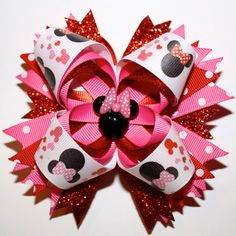 "4"" Valentine's Day Minnie Mouse Polka Dots Glitter Red Pink Stacked Hair Bow"