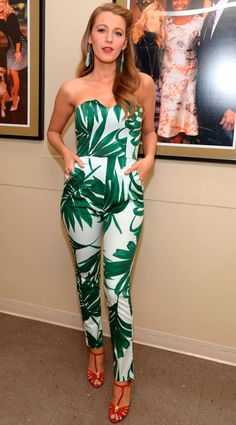 Blake Lively promotes Age of Adaline: tropical jumpsuit - Cosmopolitan.co.uk