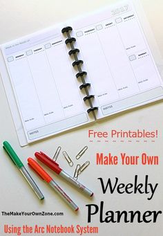 Make your own weekly planner with these free printable pages for 2017 - Half size pages that work perfectly in a junior size Arc notebook system