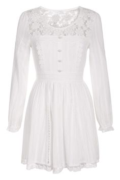 Hollow Lace Splicing White Dress(Coming Soon)    $57.99 #Romwe