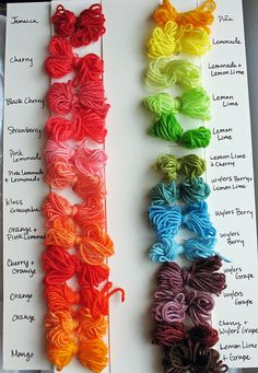 Kool-Aid Dye Chart | Kool aid yarn color chart | Flickr - Photo Sharing!