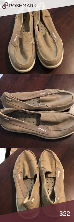 Neutral comfortable Tan CROCs Gently used, still in good condition super comfortable canvas neutral CROCS slip on loafers! CROCS Shoes Flats & Loafers