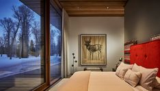 While texture and color reflecting the personality of the client are introduced in interior furnishings, the overall re-straint of the architectural palette creates a built experience that has the feel of a quiet platform set amidst the trees. Residential architecture and interior design by CLB in Jackson, Wyoming – Bozeman, Montana. #indooroutdoor #mountainhome #retreat #bedroom #bedroomdesign #interiordesign Bedroom Themes, Bedroom Styles, Bedroom Decor, Bedroom Furniture, Furniture Ideas, Modern Furniture, Bedroom Ideas, Architect House, Architect Design