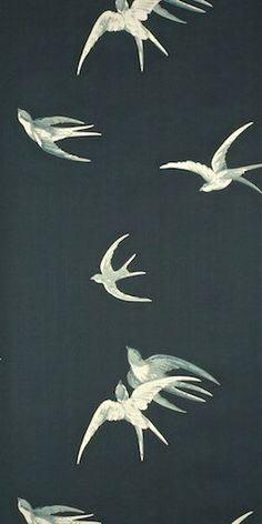 Sanderson Behang Swallows Black Uit De Vintage Behangpapier Collectie  - Luxury By Nature